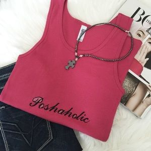 Tops - Poshaholic Embroidered Tank Top/Pink. Price firm.