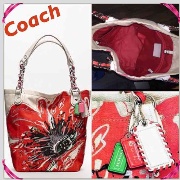 Coach poppy flower handbag coach poppy flower whipstitch tag collectors mightylinksfo