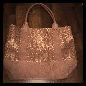 Deux lux sequined Python tote purse rose gold