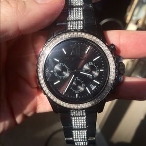 Michael Kors black/gunmetal crystal Watch