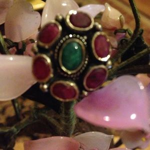 Vintage sterling  natural ruby emerald ring