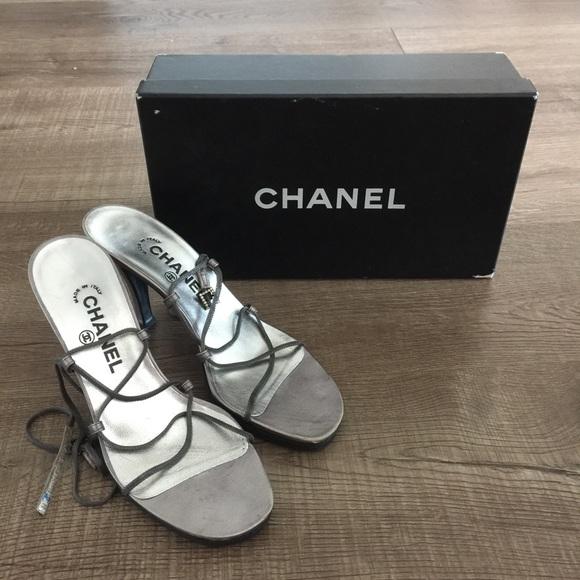 Sale Authentic Silver Wrap Heel Sandals