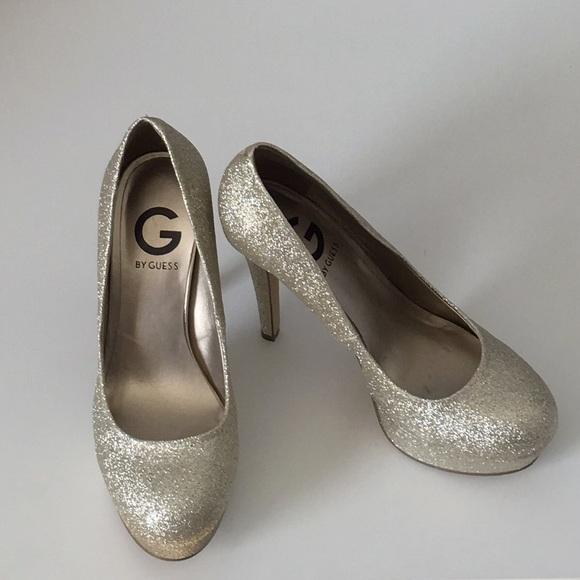 Gold Guess Glitter Sparkle Heels