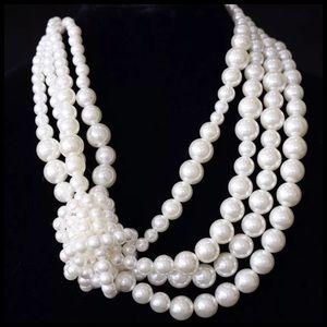 Custom Jewelry - TS Chunky 4 Strand Knotted Pearl Necklace