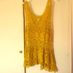 Downeast Tops - Gorgeous Mustard Lace Tank
