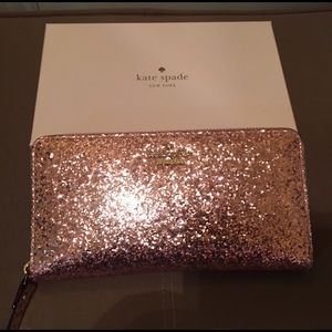 Kate Spade Rose Gold Glitter Bug Lacey Wallet