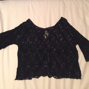 Three Bird Nest Tops - NWOT. Lace Navy blue crop top, size S