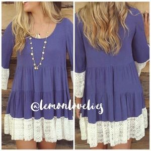 LAST DAY 3/28/17 STYLE ICON-BLUE LACE TUNIC💐💐