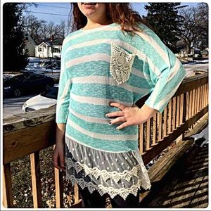 ✨5 Stars!✨ Crochet Lace Striped Sweater NEW!