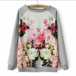 Tops - NEW Gray Floral Pullover