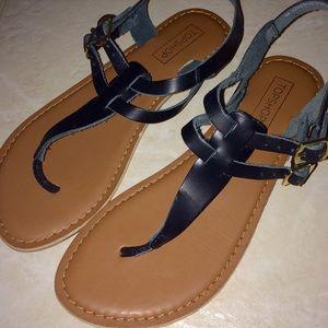 TOPSHOP T-Strap Buckle Flat Sandals EUR 36 US 5.5