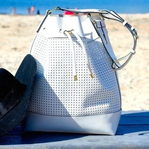Vince Camuto White Leather Bucket Bag!