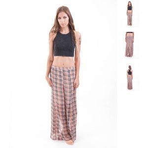 Plaid Sheer Maxi Skirt