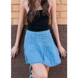 Pleated Chambray Skater Skirt - *FLAWED*