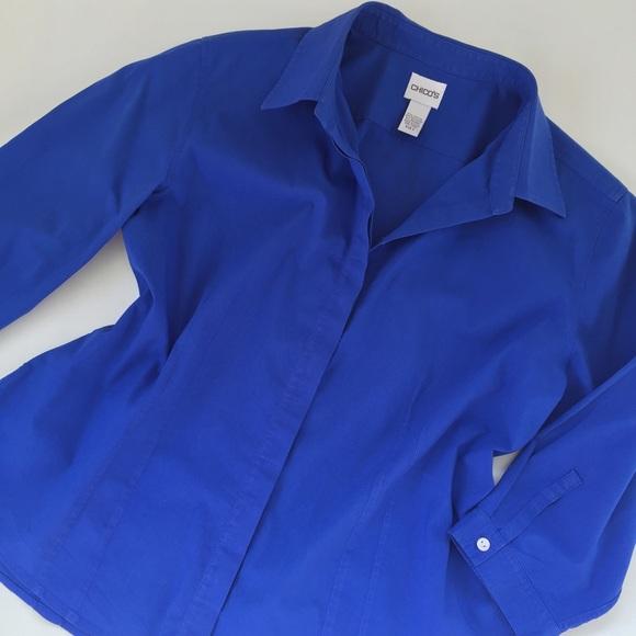90% off Chico's Tops - CHICO'S royal blue button-down shirt ...