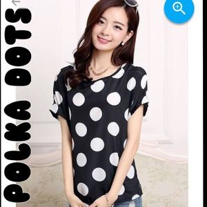 LIVA GIRL Tops - 🔴Black + White Polka Dot Blouse (PLS READ)