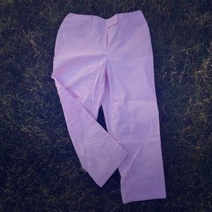 Jones New York Pants - Pink & White Pin Stripe Capri Pants