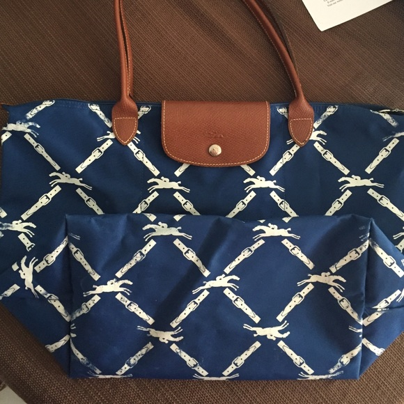 Popular Light Longchamp Embroidered Bags Blue