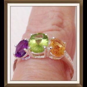 Multi Gemstone 3 Stone Ring