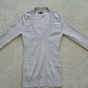 Tan striped sweater with silver threading