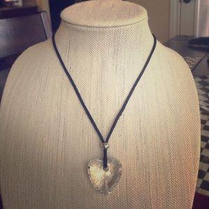Swarovski heart crystal necklace on black cord