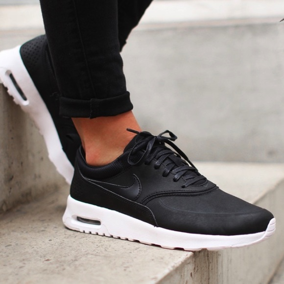 fffb521cf55 Nike Black Leather Premium Air Max Thea Sneakers