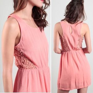 Lola Dresses & Skirts - Embroidered crochet lace cut out boho dress coral
