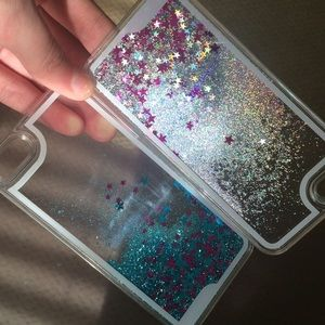 PINK Victoria s Secret Accessories - Glitter water silver blue iPhone 5  cases 69773e4de5