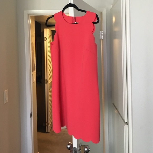 J. Crew Dresses - Red/coral jcrew scallop dress