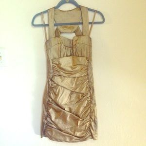 Cache metallic gold dress