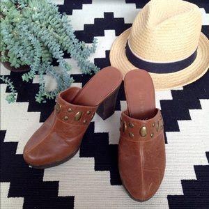 Madden Girl Shoes - Studded Cognac Clogs, Sz 8