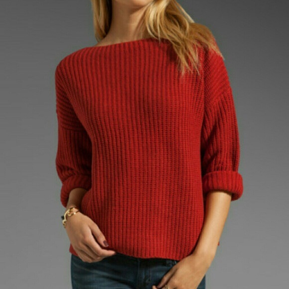 86% off Vince Sweaters - Vince chunky crimson red boat neck ...