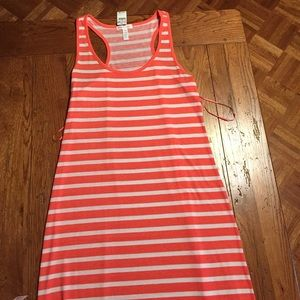 Coral and white stripe maxi dress size large. NWT.