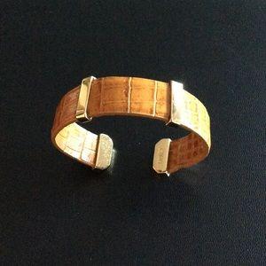 Monet Jewelry - Monet Gold & Brown Leather Bracelet