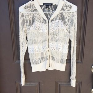 Miss Chievous Jackets & Blazers - Ivory Lace Zip Top