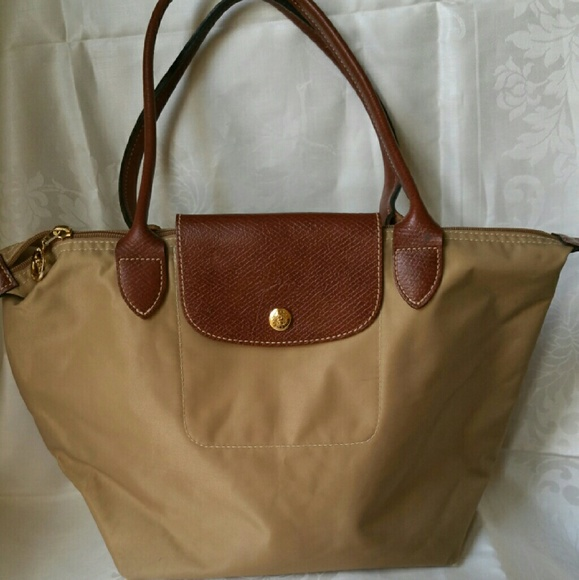 c555db89dfa Longchamp Handbags - Longchamp Tan Medium Size Nylon  Leather Tote