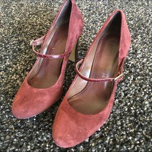 Burgundy suede Mary Jane heels