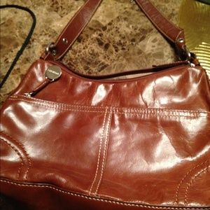 Aurielle Handbags - SEXY cognac color leather shoulder bag