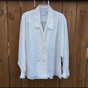 Dior Tops - Vintage Christian Dior Cream Blouse
