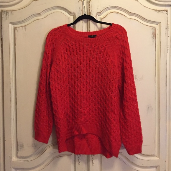 63% off H&M Sweaters - Oversized red knit sweater from Carly's ...