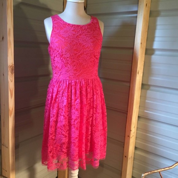 UP by Ultra Pink Dresses & Skirts - Super cute hot pink lace & orange dress, large
