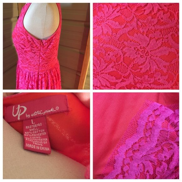 UP by Ultra Pink Dresses - Super cute hot pink lace & orange dress, large