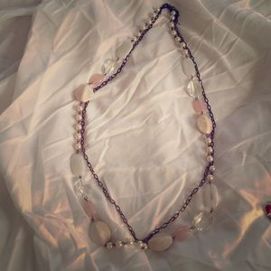 Long double tiered fashion necklace