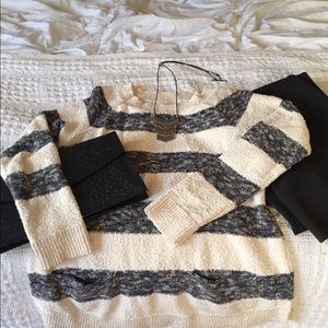 SALE  White/off white and gray striped sweater