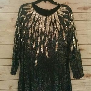 Amazing vintage silk fully sequined dress
