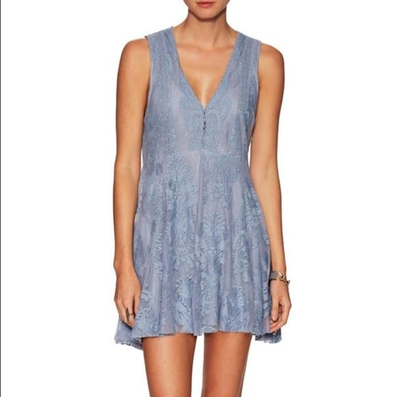 Blue gray lace dress