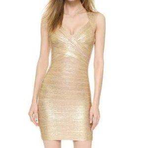 Herve Leger Dresses & Skirts - Herve leger gold dress