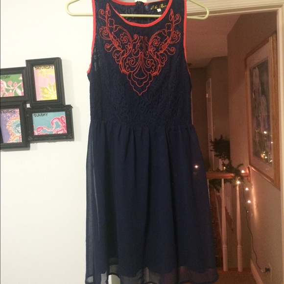 Lace dress fit and flare rain