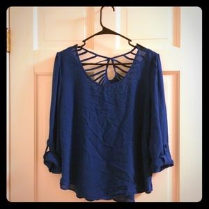 Blue blouse with caged back