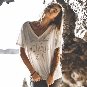Friday Apparel Tops - Gimme That Vitamin Sea Graphic Tee (White + Gold)